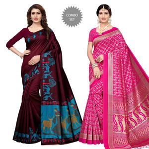 Blooming Festive-Casual Wear Printed Saree With Tassels-Pack of 2