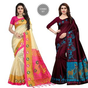 Graceful Festive-Casual Wear Printed Saree - Pack of 2