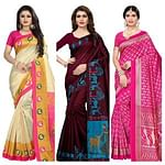 Magnetic Festive-Casual Wear Printed Saree With Tassels - Pack of 3