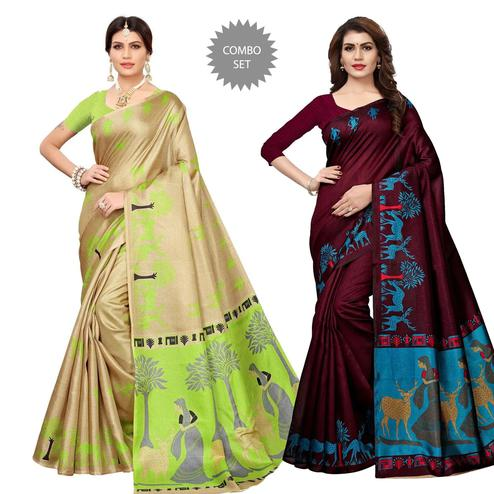 Hypnotic Casual Wear Printed Saree - Pack of 2
