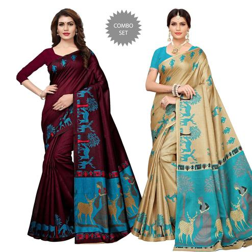 Flattering Casual Wear Printed Saree - Pack of 2