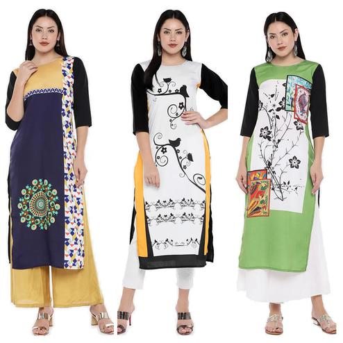 Excellent Casual Wear Digital Printed Calf-Length Straight Crepe Kurti - Pack of 3