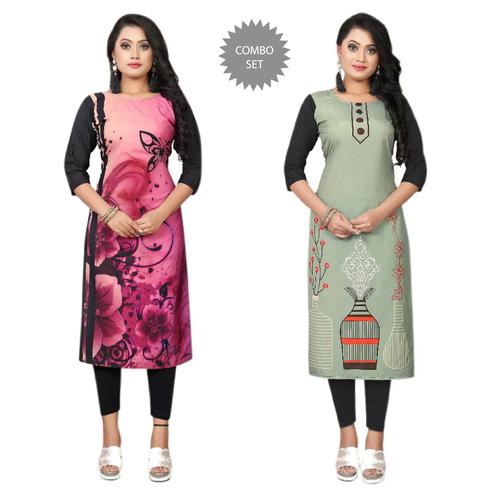 Pleasant Casual Wear Digital Printed Calf-Length Straight Crepe Kurti - Pack Of 2