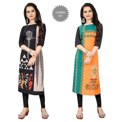 Gorgeous Casual Wear Digital Printed Calf-Length Straight Crepe Kurti - Pack Of 2