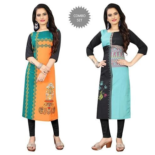 Blissful Casual Wear Digital Printed Calf-Length Straight Crepe Kurti - Pack Of 2