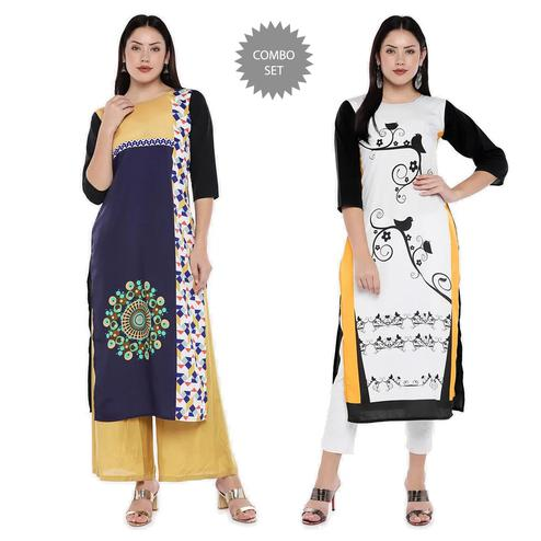 Mesmeric Casual Wear Digital Printed Calf-Length Straight Crepe Kurti - Pack of 2