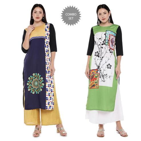 Demanding Casual Wear Digital Printed Calf-Length Straight Crepe Kurti - Pack of 2