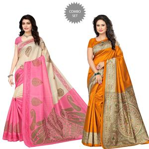 Exotic Festive Wear Printed Bhagalpuri Silk Saree - Pack of 2
