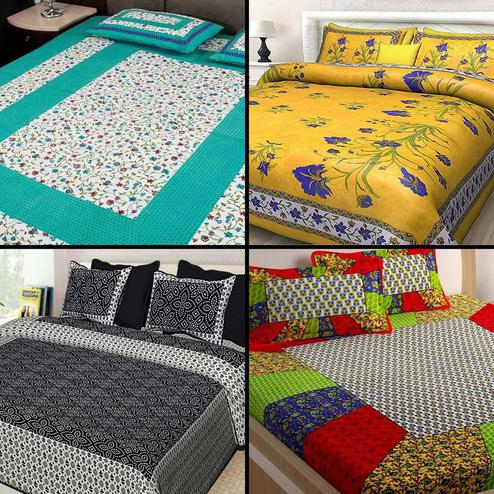 Classy Printed Cotton Double Bedsheet With 2 Pillow Cover- Pack of 4