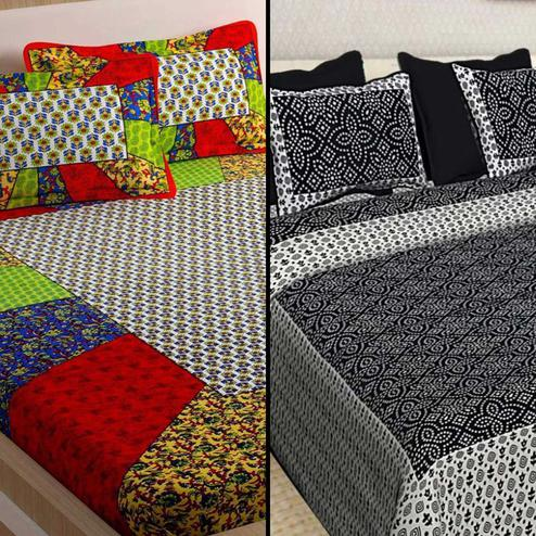 Appealing Printed Cotton Double Bedsheet With 2 Pillow Cover- Pack of 2