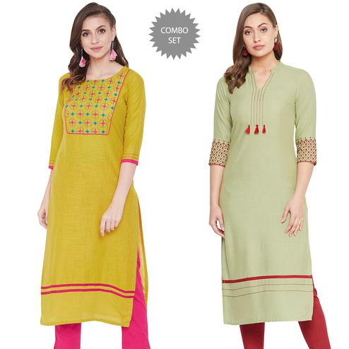 Radiant Casual Wear Embroidered Cotton-Rayon Kurti - Pack Of 2