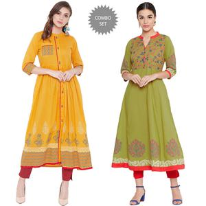 Amazing Casual Wear Printed Cotton Kurti - Pack Of 2