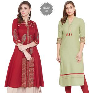 Energetic Casual Wear Printed-Embroidered Cotton-Rayon Kurti - Pack Of 2