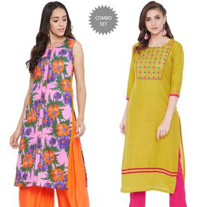 Mesmeric Casual Wear Printed-Embroidered Cotton Kurti - Pack Of 2