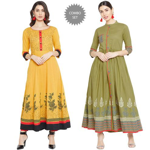 Unique Party Wear Printed Cotton Kurti - Pack Of 2
