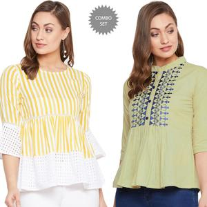 Refreshing Casual Wear Printed-Embroidered Rayon-Cotton Top - Pack Of 2