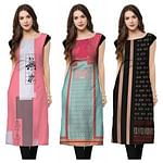 Attractive Casual Wear Printed Rayon Kurti - Pack of 3