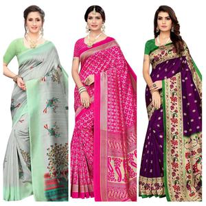Intricate Festive Wear Printed Silk Saree - Pack of 3