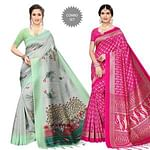 Flattering Festive Wear Printed Silk Saree - Pack of 2
