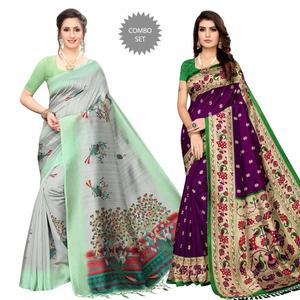 Excellent Festive Wear Printed Silk Saree - Pack of 2