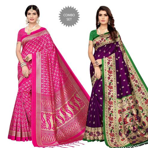 Preferable Festive Wear Printed Silk Saree - Pack of 2