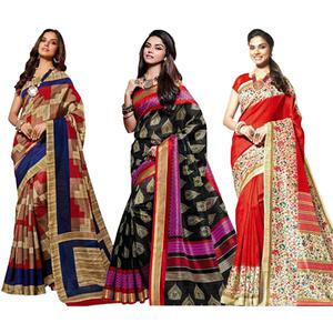 Multicolored - Black - Red Printed Saree (Pack of 3)