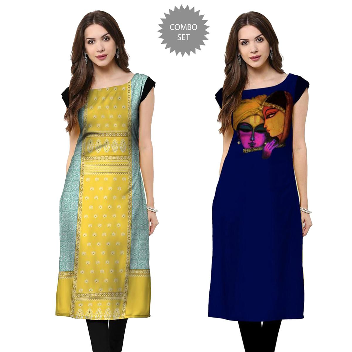 Adorning Casual Wear Printed Rayon Kurti - Pack of 2