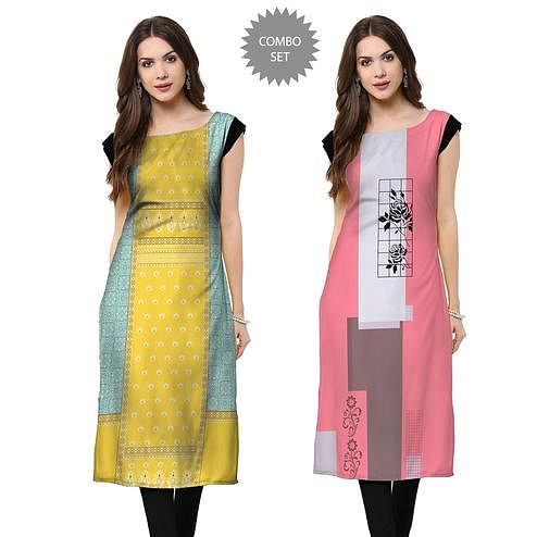 Ideal Casual Wear Printed Rayon Kurti - Pack of 2