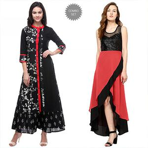 Black - Red Party Wear Kurti Combo