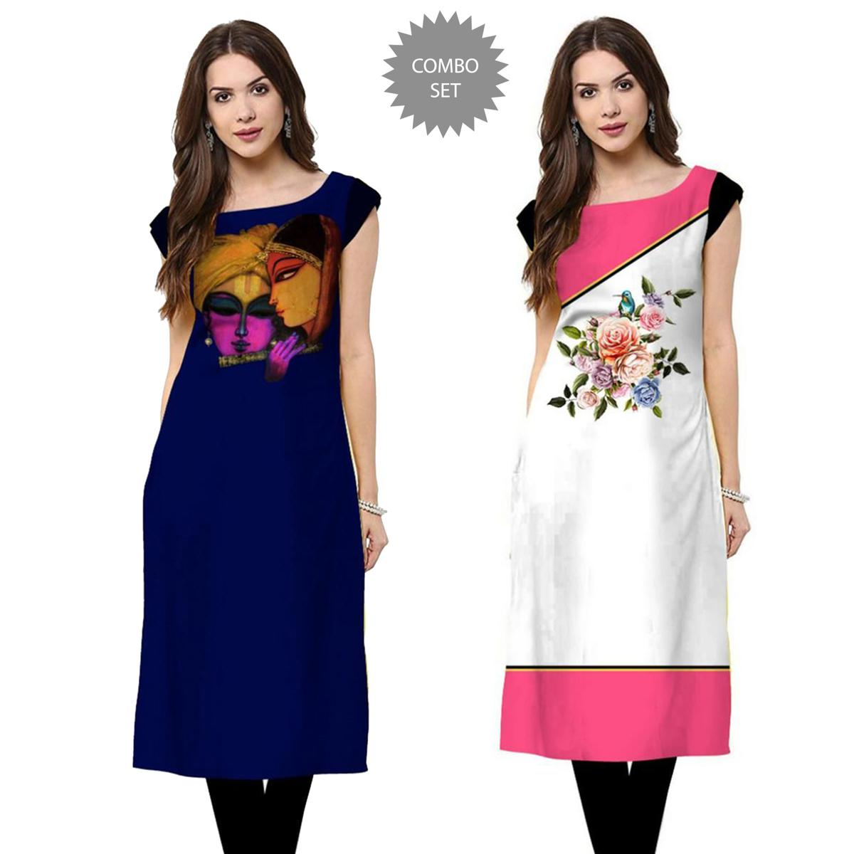 Glorious Casual Printed Rayon Kurti - Pack of 2
