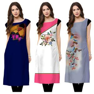 Gorgeous Casual Printed Rayon Kurti - Pack of 3
