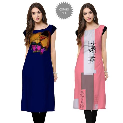 Blissful Casual Wear Printed Rayon Kurti - Pack of 2