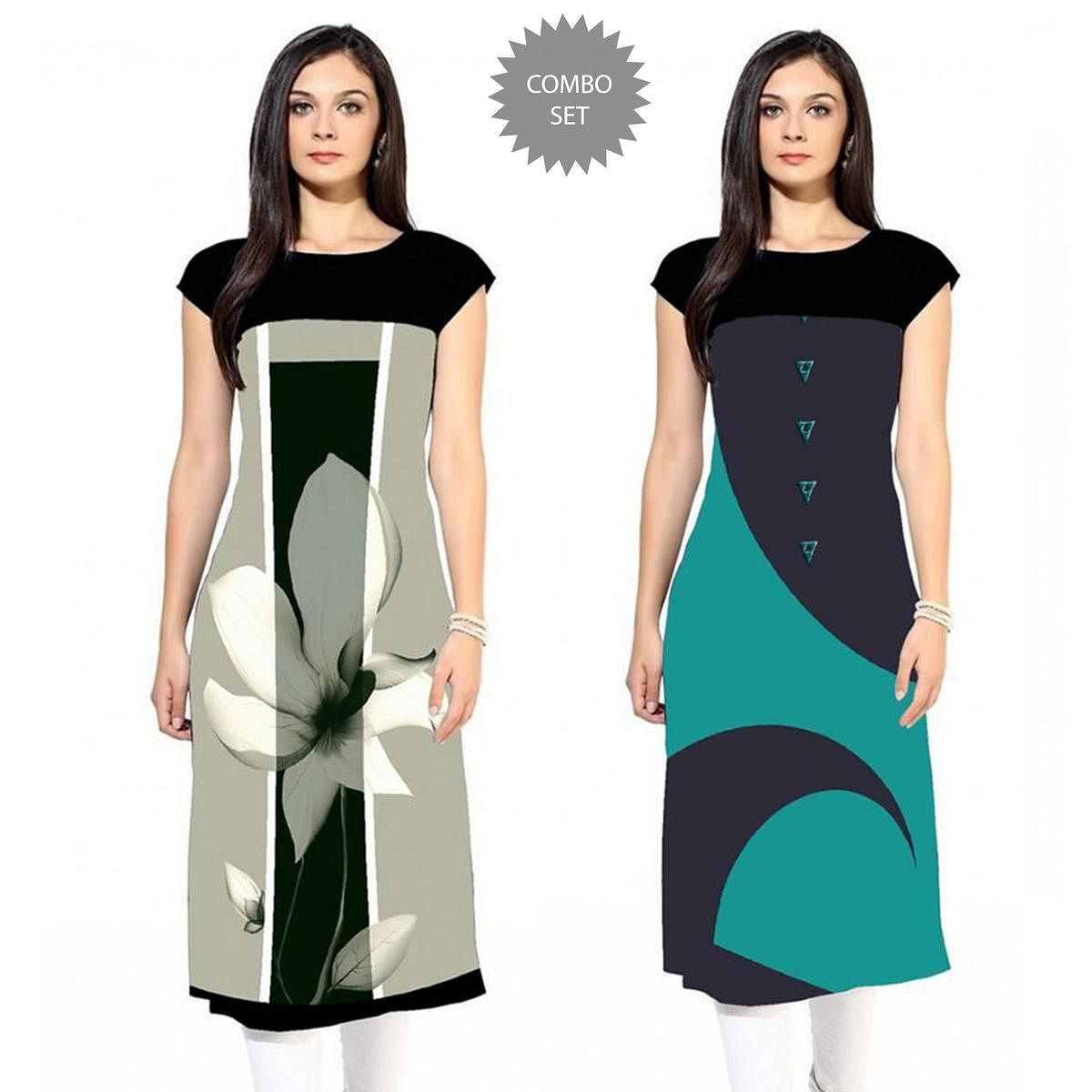 Eye-catching Colored Casual Printed Rayon Kurti - Pack of 2