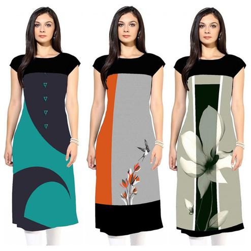 Pleasant Colored Casual Printed Rayon Kurti - Pack of 3