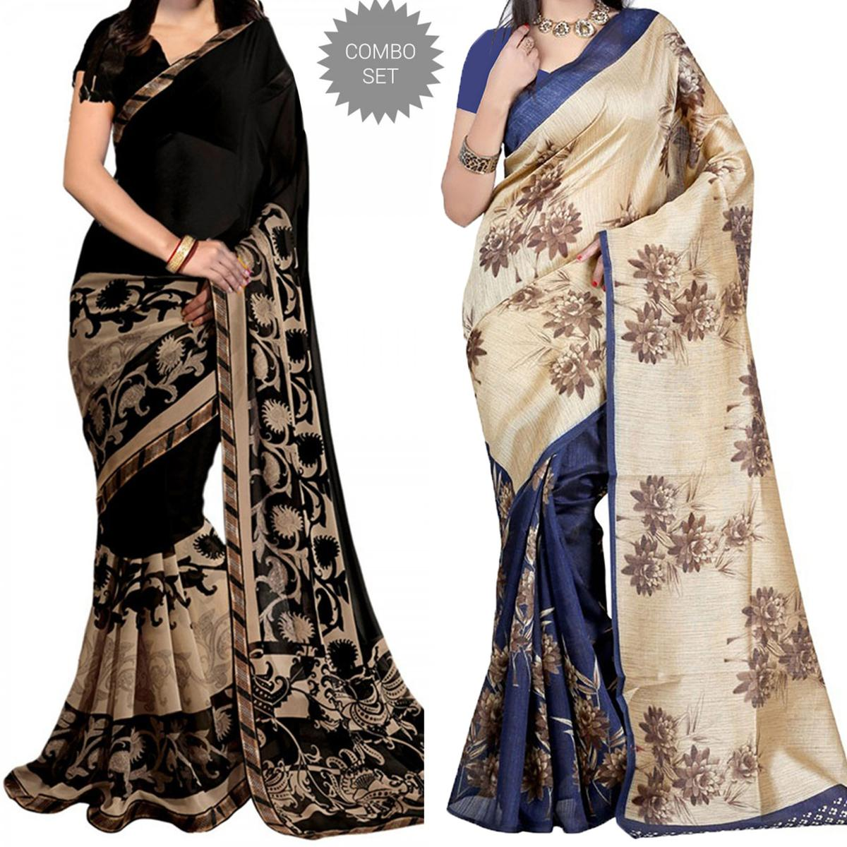 Black Georgette - Blue And Bhagalpuri Saree Combo