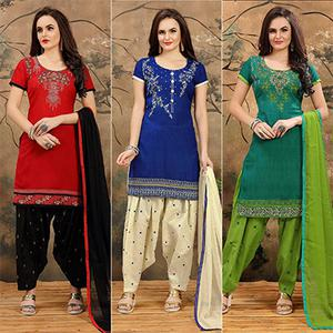 Pack of 3 Indo Cotton Patiala Suit