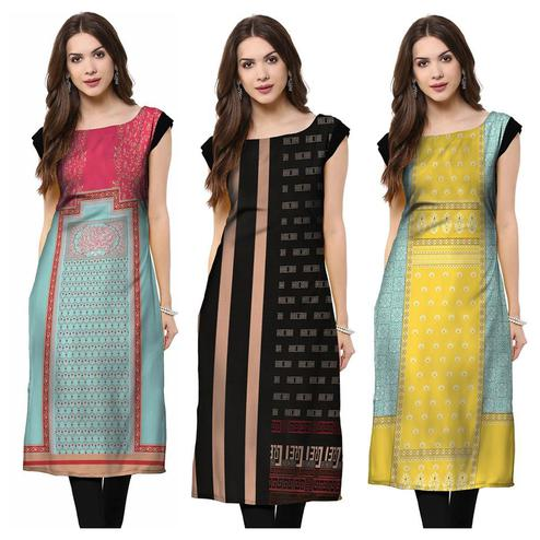 Unique Casual Printed Rayon Kurti - Pack of 3