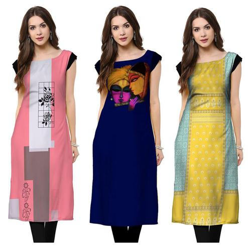 Gorgeous Casual Wear Printed Rayon Kurti - Pack of 3