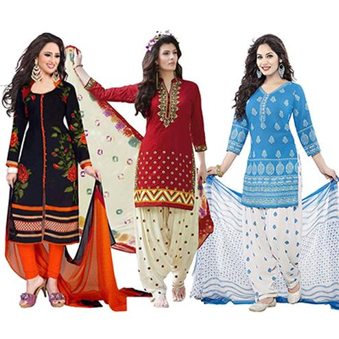 Black - Red - Blue Leon Dress Material (Pack of 3)