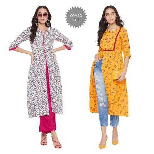 Attractive Casual Printed Rayon - Cotton Kurti - Pack of 2