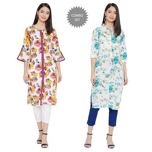 Beautiful Casual Printed Pure Cotton Kurti - Pack of 2