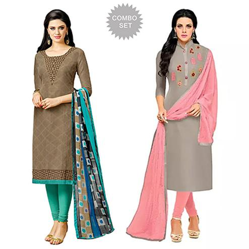 Marvellous Printed Casual Wear Dress Materials - Pack of 2