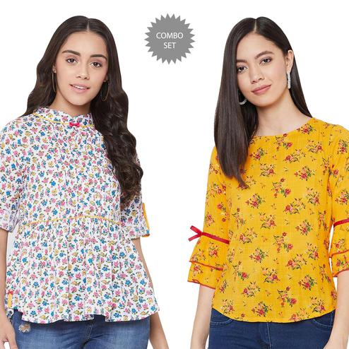 Graceful Casual Printed Cotton - Rayon Top - Pack of 2