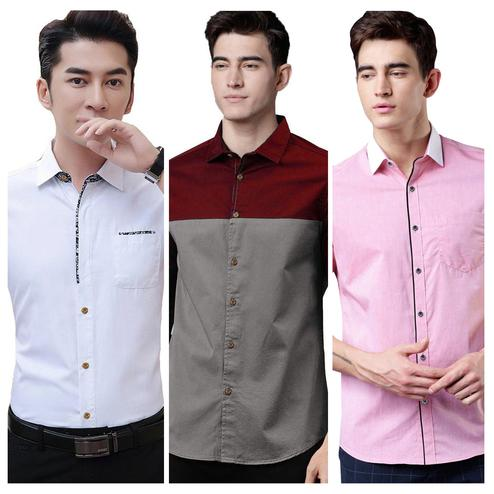 Adorable Casual Wear Pure Cotton Shirts Pack Of 3