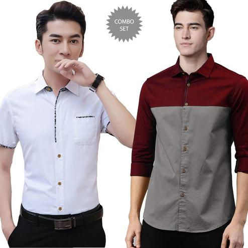 Glorious Casual Wear Pure Cotton Shirts Pack Of 2