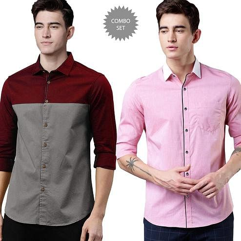 Attractive Casual Wear Pure Cotton Shirts Pack Of 2
