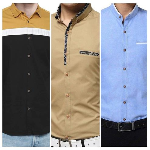 Blooming Casual Wear Pure Cotton Shirts Pack Of 3