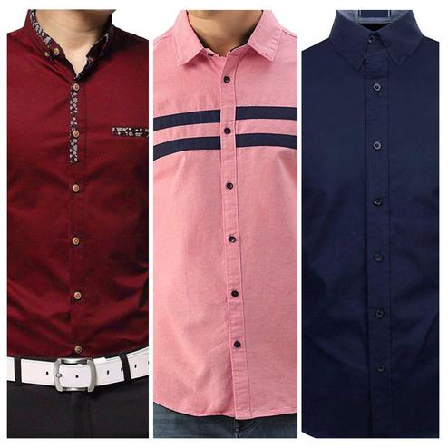 Captivating Casual Wear Pure Cotton Shirts Pack Of 3