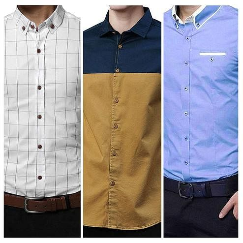 Amazing Casual Wear Pure Cotton Shirts Pack Of 3