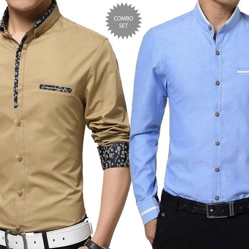 Jazzy Casual Wear Pure Cotton Shirts Pack Of 2